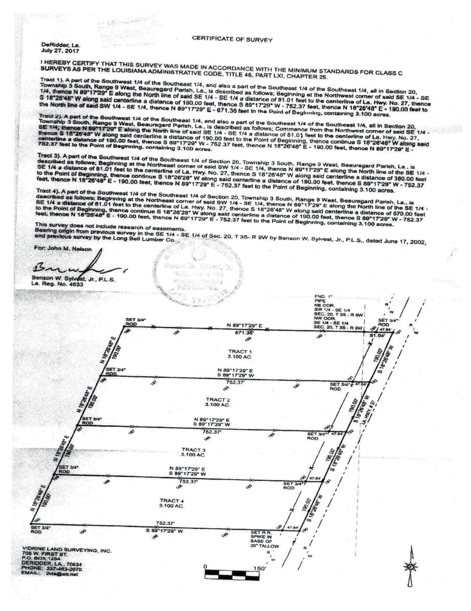 DeRidder land for sale,  TBD Hwy. 27, DeRidder LA - $42,500