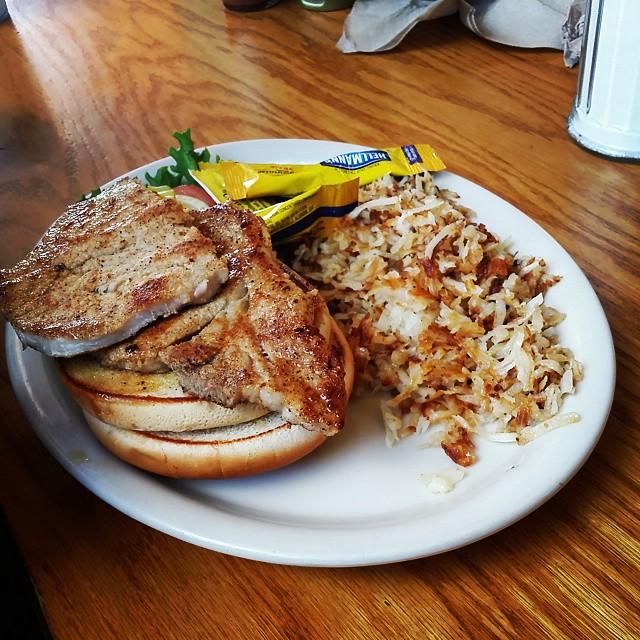 Pork chop sandwich at Waffle Shoppe in DeRidder. It tasted as good as it looks. PorkChop DeRidder WaffleShoppe