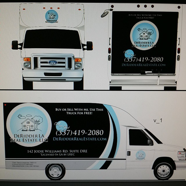 Doing graphic design on our moving truck. Not sure about the black background. I think the background should be white being that where down here in hot Louisiana. Comments? RealEstateMovingTruck RealEstateMovingVan FreeMovingTruck FreeMovingVan DeRidder leesville FortPolk