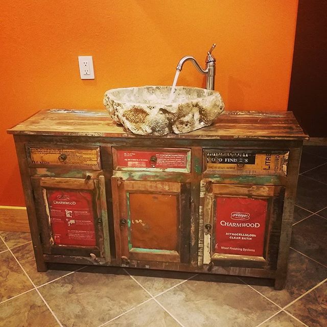 Bought This Antique Credenza Drilled Some Holes In It Connected To Plumbing