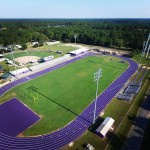The track and football field at Rosepine High School